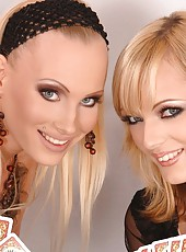 2 blond babes enjoy sucking 2 cocks