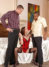 Hot babe Evelyne enjoys two cocks