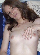 Compilation of a slutty amateur wife posing naked on the bed