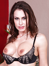 Cock hungry cougar Nora Noir gets a load of jizz all over the perky tits
