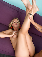 Beautiful blonde milf gets her shaved pussy fucked hard