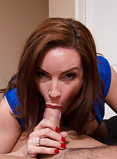 Busty Diamond Foxxx makes younger guy fuck her wet pussy and she rides his thick cock.
