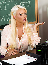 Summer Brielle is a horny teacher who fucks her big cocked student on her desk.