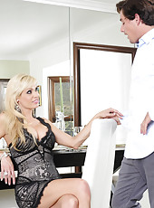 Mikki Lynn is waiting for her date but comes across her sons friend so she fucks him instead.