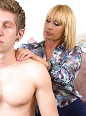 Mellan Monroe has hot sex with her sons friend who helped her move some boxes.