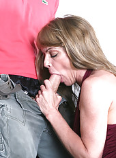 Gorgeous Shayla Laveaux fucks younger cock after she sees it and cant resist.