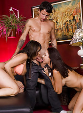 Hot busty MILF Ava Devine & Vanessa Videl have hot threesome with one lucky guy.