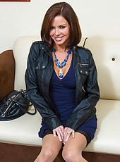 Veronica Avluv decided to surprise her husband at his office. Since he's been working so hard she decides to give him a little treat....her nice trimmed pussy. She pulls up her dress to reveal she's not wearing any panties then strips it off to