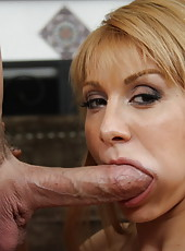 Hot blonde babe makes guy cheat on his wife and fuck her right there.
