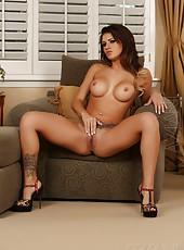 Brunette beauty Sofia Delgado models her hard petite body in sexy lingerie.