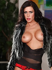 The beautiful brunette Jessica Jaymes strips and maturbates totally naked..hot!