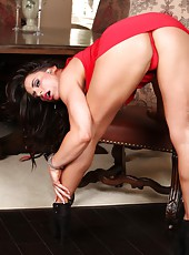 Nikki Jackson does a sexy slow striptease showing off her muscles.