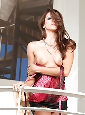 Celest Star spreads her legs wide open on the stairs!