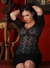 Luscious Aria Giovanni will melt you in all of the right places as she sensually strips. Seeing her sweet buns wiggle in her see thru pink panties will drive you wild.