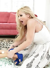 Tyler Faith gets a naughty delivery!  A hot blonde who shows up and proceeds to lick Tyler
