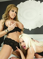 Amber Lynn Bach and her girlfriend give each other orgasms.