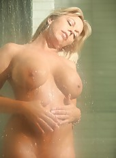 Sexy shower time with the sexy MILF Amber Lynn Bach.