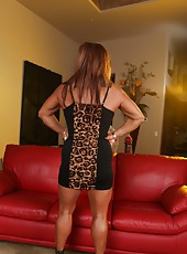 Big buff DD strips off her sexy tight dress and shows off her big strong muscles. AND big clit!