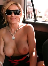 Busty blonde babe, Tyler Faith, gets super horny in the car and decides she just has to get off on her favorite purple vibrator right there!