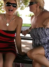 Blonde hotties, Tyler Faith and Rachel Aziani, go on a little public adventure flashing their pussies and big boobs for all to see!