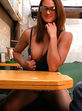 Misty Anderson loves being naughty for the camera in public! Check out her flashing her pussy and getting off on her favorite toy sitting in a restaurant!