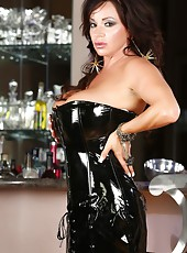 Sexy Rachel Aziani strips out of her skin tight dress and shows off her hot body.