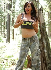 A slow sexy striptease out in nature with the hot Rachel Aziani.