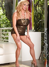 Rachel Aziani strips out of her gold tight dress and shows off her big tits and big clit.