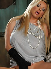 Rachel Aziani shows off her hairy pussy and puffy lips.