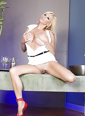 Blonde babe, Rachel Aziani, loves her tight little white dress and red heels and showing off her incredible big tits and sexy shaved pussy!
