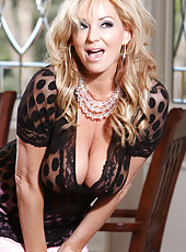 Rachel Aziani in See Thru top. Shows off her huge Tits
