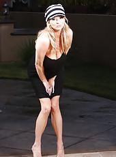 Rachel Aziani in short little dress