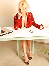 Rachel in a sexy secretary outfit...and no panties! Mrs Aziani, ready for dictation!