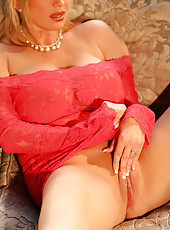 A member sent Rachel this wonderful red lingerie outfit. It