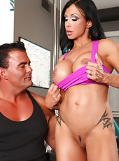 Jewels Jade is training a really hot guy, she gives him a juicy blowjob and fucks him too.