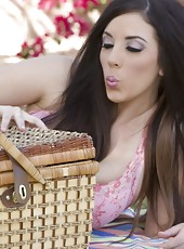 Gorgeous brunettes, Nikki Nova and Jelena Jensen, enjoy a naughty picnic outdoors and strip down to nothing playing with each other