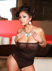 Priya Anjali Rai strips from her black see through lingerie and spreads her sexy legs.