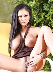 Busty Indian Pornstar, Priya Anjali Rai, gets naughty outdoors flashing her big boobs and shaved pussy under her sundress!