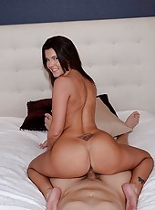 Hunter ripped her fishnet stockings and after smacking her beautiful big booty a few times he stuffed her mouth