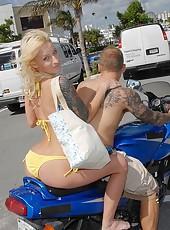 Hot petite blond milf at the beach sexy body yellowe bikini