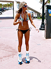 Milf on skates get pick up at the beach and get a fat cock watch her nice tits bounce on cock