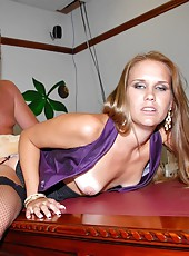 Horny mini skirt jenny gets her pussy banged in the used card office after making a hot deal to sell the car in these hot reality porn pics