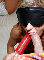 Smoking hot perfect long leg hot ass milfs share their 3some fantasy in this big tits blindfolded cumfaced sex 3some adventure