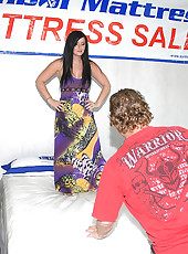 Check out this hot fucking mini skirt babe get fucked on the store mattress display that she is selling