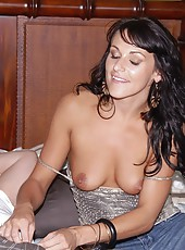 Smoking hot fucking milf takes a long dong up the rear in these hot bedroom fucking pics