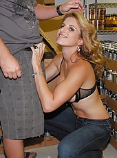 Check out hot long leg milf get picked up at the store then her big tits creamed in these hard fucking reality pics