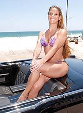 Super hot big tits bikini beach babe gets picked up in a classic car then fucked and sucked by the pool in these hot wet cumfaced milf pics and big movie