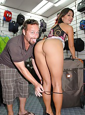Watch this super sexy milf get picked up in a luggage shop then pounded hard in the back in these hot mini skirt banging pics