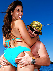 Hot ass beach bebe stripson her boat then get her pussy pounded hard and cum faced in these hot open seas fucking pics