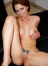 Super hot short haired milf destiny rides a long cock in these table top fucking pics